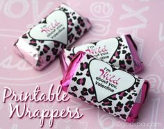 Free printable candy wrappers for Valentine's Day from GCDSpa.com