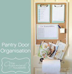 Beautiful! Back of the pantry door organisation, meal (menu) planning board via @Matty Chuah Organised Housewife