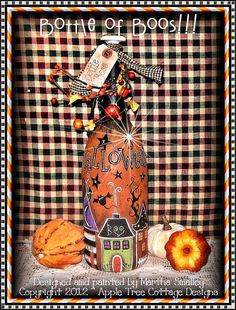 "E Pattern - Martha Smalley's Apple Tree Cottage Designs - ""Bottle of Boos"". $5,00, via Etsy."