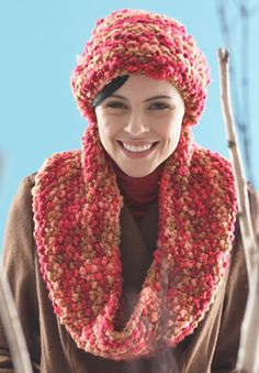 Using the super-bulky weight of Patons Melody, this is a set that knits up incredibly quick! hat hats toque toques cap caps beanie beanies beany