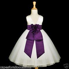IVORY PLUM PURPLE WEDDING FORMAL TULLE CHILD FLOWER GIRL DRESS 12-18M 2 4 6 8 10   eBay