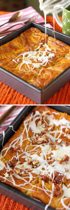 Pumpkin Cheesecake Cinnamon Rolls: They start with a pumpkin yeast dough that gets filled with a thick cheesecake mixture before being rolled up, baked, glazed, and topped with Maple Candied Pecans!