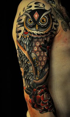 Owl tattoo in progress.. by Christian Lanouette Montreal Qc