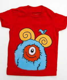 Coming soon! Kid's Monster TShirt  Red with Aqua Monster size 8 by dkoss2, $20.00