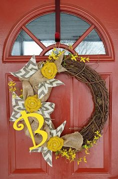 Yellow & Grey Chevon Twig Spring Wreath by WreathAddictionbyT, $40.00 Custom Wreaths can also be ordered on Wreath Addiction's Facebook page.