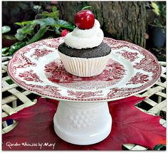 Red Toile Cupcake Stand / Pedestal Stand  by GardenWhimsiesByMary