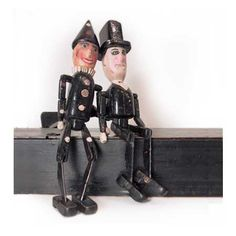 Pair of Figures in Carrying Case, wood