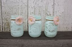 Trio of Super Sweet Shabby Chic Mason Jar Vases - Painted Mason Jars with Fabric Flowers - Aqua Decor.