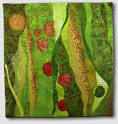 Hilde Morin - Too Much Wasabi II - 2009 Curved piecing commercial fabrics, hand dyes, lace insert, machine quilted