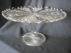OLD PRESSED GLASS PEDESTAL CAKE PLATE