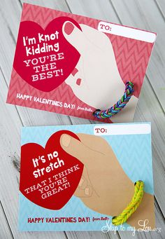 Rainbow Loom Bracelet Valentines {Free Printable} www.skiptomylou.org #printables #valentinesday #rainbowloom #crafts #activities #homemade #tutorial #kids