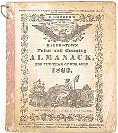 HAGERSTOWN MARYLAND ALMANAC 1863