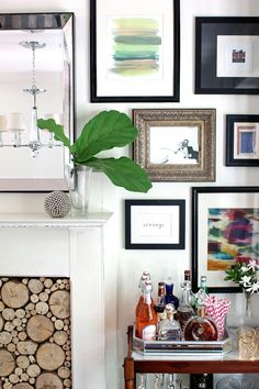 Bar Cart Styling | Gallery Wall | Stacked Log Fireplace