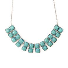 Double Row Turquoise Stone Squares Statement Necklace