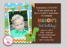 Dinosaur Birthday Invitation #dinosaur #dino #dinosaurinvitation #party
