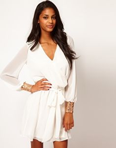 ASOS Wrap Dress with Sequin Cuff.... For engagement shoot?