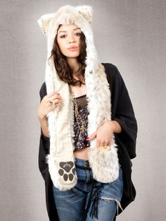What's Your Spirit Animal? ........ SNOW LEOPARD GOLD LINEN ... (Faux Fur, Limited Edition) ....... Traits: Silent > Mindful > Independent.  Find out more about the #Snow #Leopard #Spirit #Animal at: https://www.spirithoods.com/adults/womens/snowleopardgold/1264/# $129 #Gifts #Fashion #Hoodie #SpiritHood #SpiritHoods #FauxFur #Women #Limited #Paws #Scarf #Gold #Linen #ProBlue