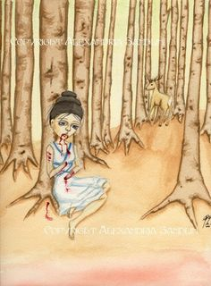 Lavinia in the Woods print by  Alexandria Sandlin on #etsy note the deer in the trees
