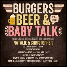 Burgers Beer n' Baby:Posies baby shower co-ed couples baby shower invite