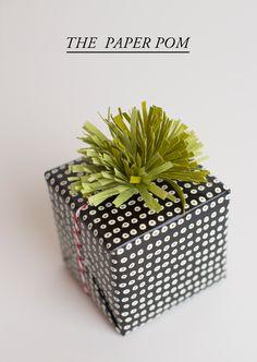 Paper pom gift wrap.