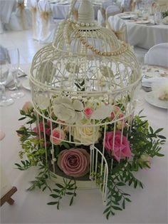 Birdcage wedding centrepiece