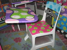 painted school desks