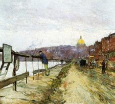 Charles River and Beacon Hill  Frederick Childe Hassam - circa 1890-1892