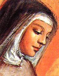 Saint Clare, follower of the Poverello, St. Francis of Assisi,  was born to a noble family of the town of Assisi, in Umbria, Italy in the year 1193.When her neighbor Francis gave away all his possessions to follow Jesus in poverty and prayer, Clare felt herself drawn to follow his example. clare pray, prayer, saint clare, st clare, cathol faith, famous cathol, italy, assisi, bless saint