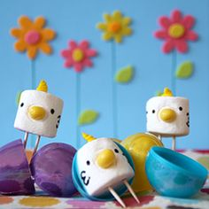 Easter chicks made from marshmallows