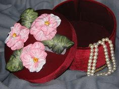 One of a kind red  velvet covered hat box with by PresentIdea, $25.00
