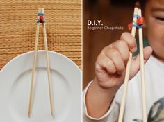 DIY Beginner chopsticks so kids can get some training on using chopsticks.  Works for adults too!