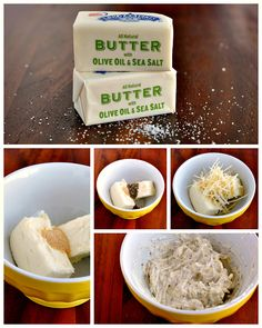 recipe for parmesan garlic butter spread with olive oil and sea salt butter