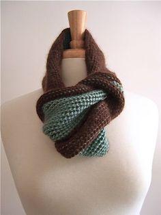tunisian twist scarf aqua and chocolate #crochet #scarf