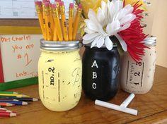 So cute! Teacher appreciation Set of 3 Hand Painted Teacher Mason Jars, classroom decor, teacher gifts