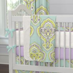 """Crib Bedding Blanket in Aqua and Amethyst Laval by Carousel Designs.  Our soft and lightweight crib blanket is just the thing to wrap your baby up, snug as a bug in a rug. At 34"""" x 43"""", it's the perfect size for the newest addition to the family."""