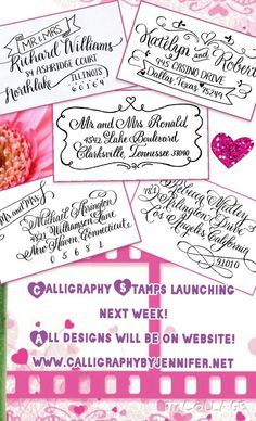 Our brand New Calligraphy Stamps are launching next week!! Be sure to drop by our website to see all the designs. We might do a giveaway too:) #calligraphy #calligraphystamps #nextweek #rubberstamp #selfinkingstamp #preinkedstamp #newdesigns #stamps #handstamps #nationwidecalligrapher #CalligraphybyJennifer