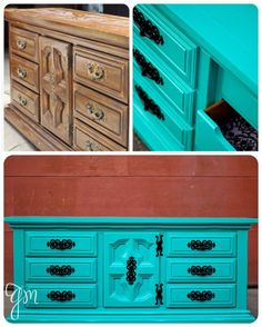 ~LOVE THIS!~ Consider a bold paint job on your furniture instead of the traditional sand and stain.