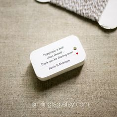 Happiness is Best When Shared Personalized Gift Tags - Wedding Favor Tags - Thank You Tag - Hang tags - Set of 40 (Item code: J309). , via Etsy.