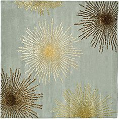 Handmade Soho Burst Blue New Zealand Wool Rug (8' Square)