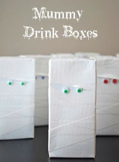 Mummy drink boxes for Halloween: love this!