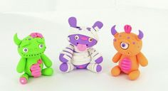 Little Lazies Monster Trio: Mummy, Cyclops and Zombie #halloween #craft #polymer #clay