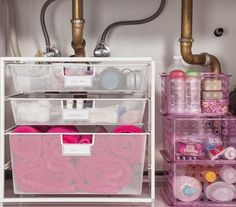 Easy to buy organizational helpers for under cabinet bath storage.