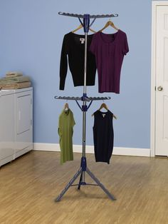 Laundry room drying rack for sweaters, blouses, shirts and dresses. Its portable. Can dry upto 72 garments.
