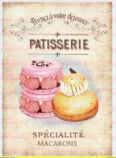 Vintage Cupcake Kuchen french Paris  A4