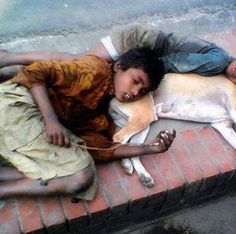 Homeless child and friend.