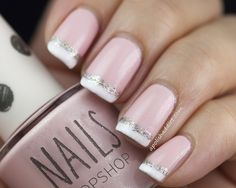 French manicure with sparkly stripe