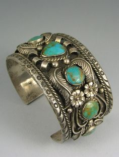 "Navajo Vintage Cuff | Signed ""RC"" (Rose Castillo Draper ?).  Silver and turquoise."