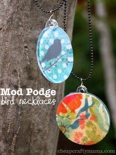 Mod Podge Bird Necklaces- Cheap Crafty Mama