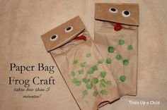 Paper Bag Frog Craft-add paper pop up eyes to make look more like a frog