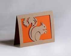 Squirrel Card of Cut Paper in Kraft Brown and by starflycreations, $10.00